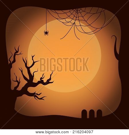 Postcard on Halloween template with leafless twigs of trees and spider on his net. Background of vector illustration is yellow moon