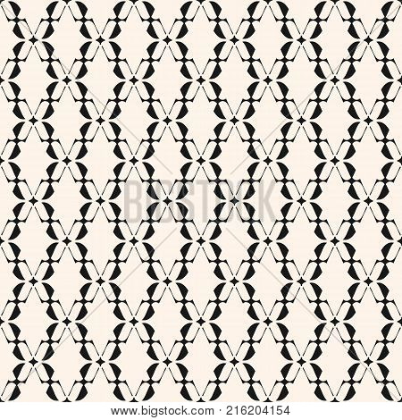 Abstract geometric seamless pattern. Elegant lace texture. Monochrome background with curved shapes, thin lines, star silhouettes, mesh. Traditional motif. Design for prints, decor. - Stock vector.