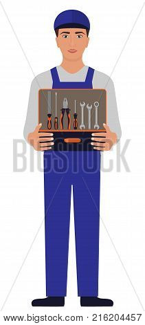 Man in blue uniform a mechanic or locksmith holding an open tool box before himself with rasp pliers screwdriver wrenches. Vector illustration isolated on white background