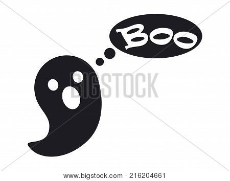 Small cute ghost that says boo black silhouette isolated flat vector illustration on white background. Traditional halloween mysterious symbol.