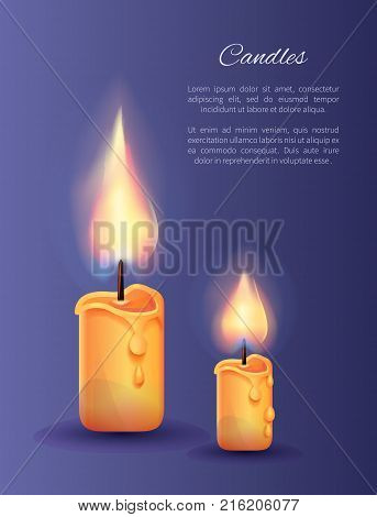 Two burning candles small and big with lit flame in realistic design vector illustration isolated on blue background. Ignitable wick embedded in wax