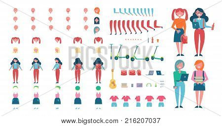 Schoolgirl constructor of girl with books, laptop and kick scooter isolated on white. Vector illustration of body parts and clothes from different angles