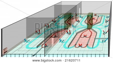 Underfloor heating and ventilation