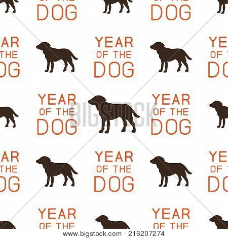 Year of the dog pattern. Symbol of 2018 seamless background. Dog icon and typography elements. Retro wallpaper. Stock vector illustration isolated on white.