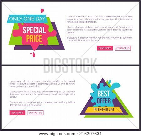 Only one day special price best offer premium labels stickers on vector web posters with buttons read more and contact us, place for text on banner