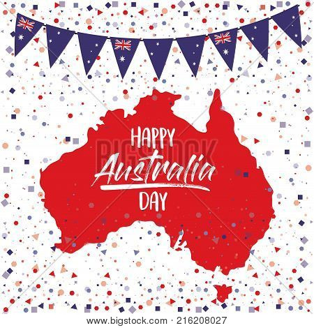 happy australia day poster with australia map in white background with colorful festoons and confetti vector illustration