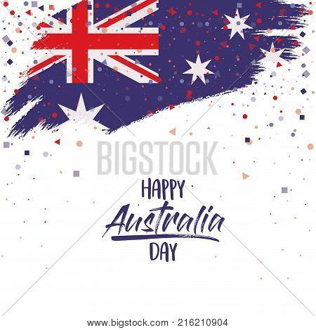 happy australia day poster with australian flag brush strokes upper edge over white background vector illustration