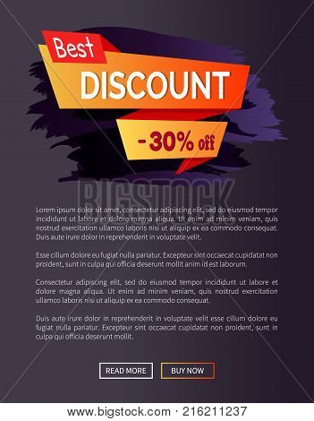 Best discount -30 of promo poster with text written on bright orange ribbon vector illustration isolated on dark paint splashes web retail banner