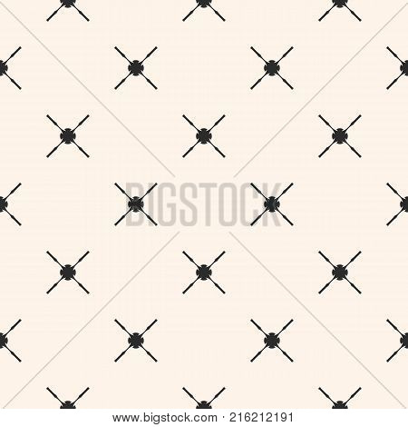 Abstract geometric seamless pattern with simple figures, carved crosses. Black and white ornamental texture. Elegant minimalist background, repeat tiles. Design for decoration prints. - Stock vector. Diagonal pattern.