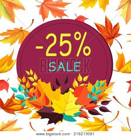 Sale - 25 special offer promo poster logo design in form of stamp with colorful foliage in bottom vector illustration banner on background of leaves