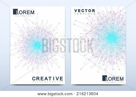 Modern vector template for brochure, leaflet, flyer, cover, catalog, magazine or annual report in A4 size. Business, science and technology design book layout. Presentation with mandala
