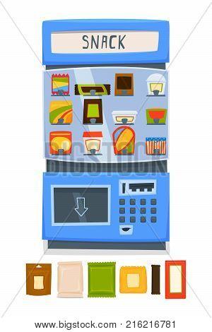 Vending machine for selling snacks. A set of packages for snacks. Vector illustration