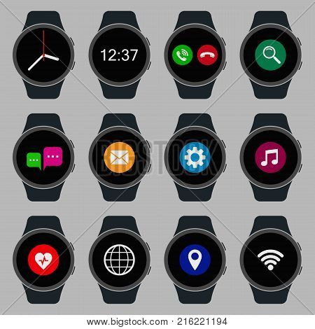 Smart watch set. Wearable smart watch with application. Vector isolated collection.