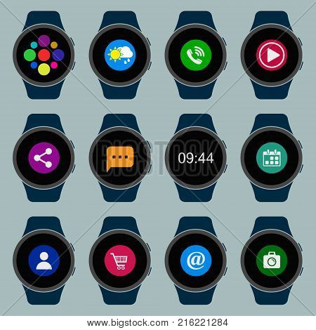 Smart watch set. Wearable smart watches with apps. Vector isolated collection.