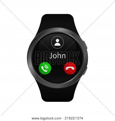 Smart watch with incoming call. Vector isolated illustration of calling smart watch.
