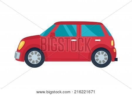 Red compact hatchback vehicle with blue small windows and yellow headlamps. Vector illustration of car isolated on white background