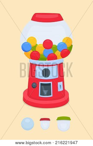 vending machine for the sale of chewing gum, balls, toys. Vector illustration. Gumball machine. Vector illustration