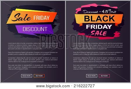 Sale Black Friday discounts advert banners with text on brush strokes, landing pages design for online shopping isolated on dark vector illustration
