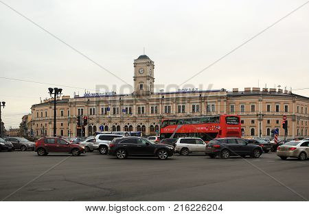 St. Petersburg, Russia - October 28, 2012: Uprising Square and the Moscow station