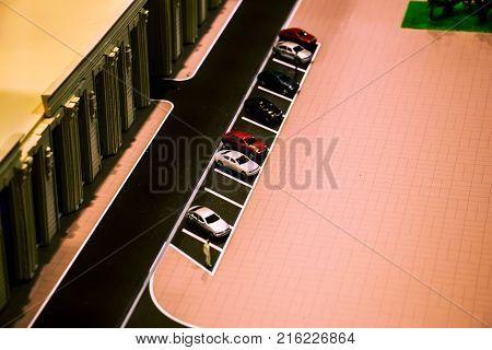 Miniature modelminiature buildingcity. Model Towns. Miniature model miniature toy buildings cars and people. City maquette Layout