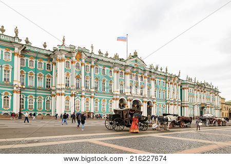 Petersburg, Russia - June 30, 2017: The Palace Square. Winter Palace.