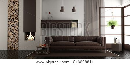 Modern living room with fireplace and leather sofa - 3d rendering