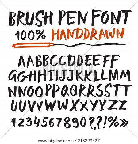 Hand drawn brush pen vector ABC letters set. Including figures. Artistic font for your design.