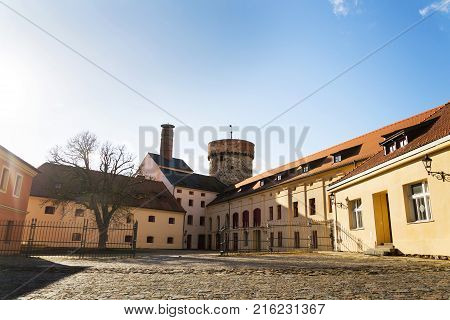 Tower Of Kotnov Castle With Citizens Brewery, Tabor, Czech Republic