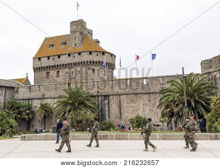Saint Malo Brittany France - July 7 2017: Army anti-terror patrol in Saint Malo France