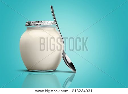Fresh health healthy spoon yogurt greek yoghurt white