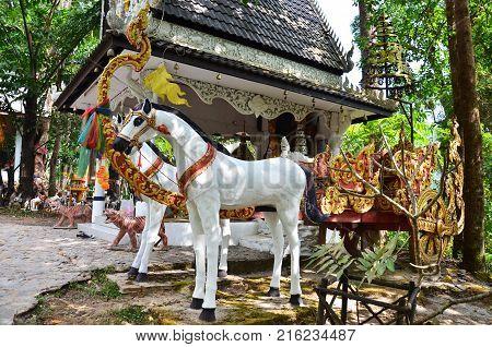 Shrine Of God Name Phaya Phu Kha For Travelers People Praying And Respect At Doi Phu Kha National Pa