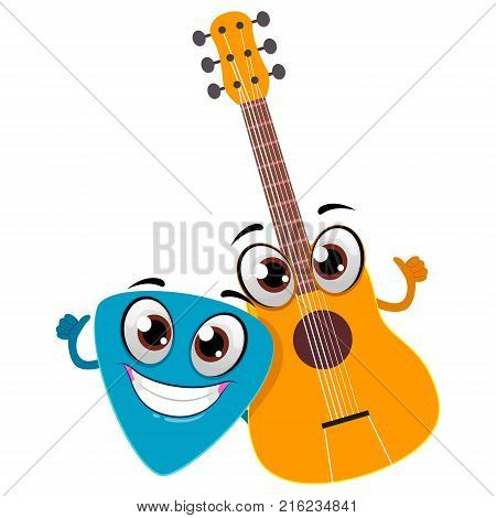 Vector Illustration of Guitar and Pick Mascot