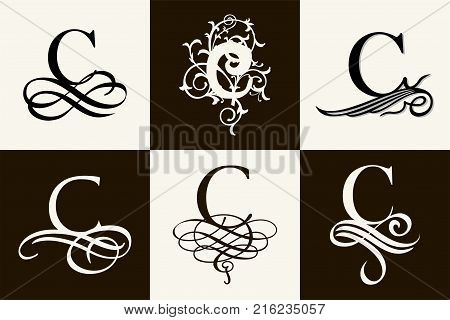 Vintage Set . Capital Letter C for Monograms and Logos. Beautiful Filigree Font. Victorian Style
