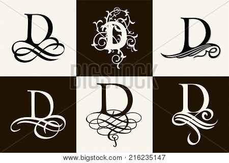 Vintage Set . Capital Letter D for Monograms and Logos. Beautiful Filigree Font. Victorian Style