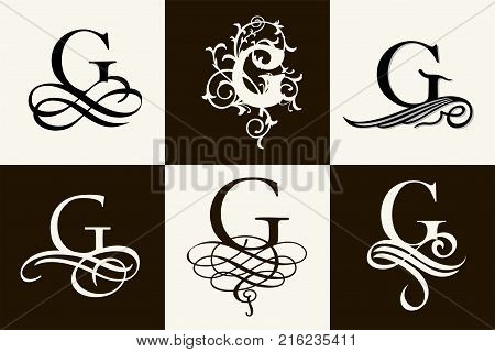 Vintage Set . Capital Letter G for Monograms and Logos. Beautiful Filigree Font. Victorian Style