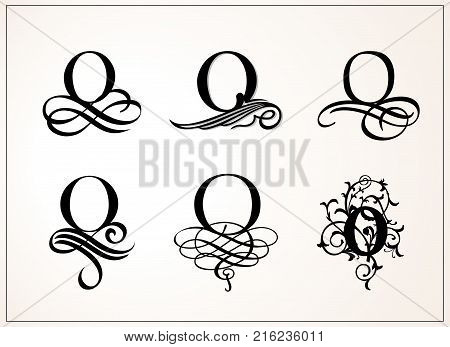 Vintage Set . Capital Letter O for Monograms and Logos. Beautiful Filigree Font. Victorian Style
