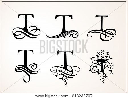 Vintage Set . Capital Letter T for Monograms and Logos. Beautiful Filigree Font. Victorian Style