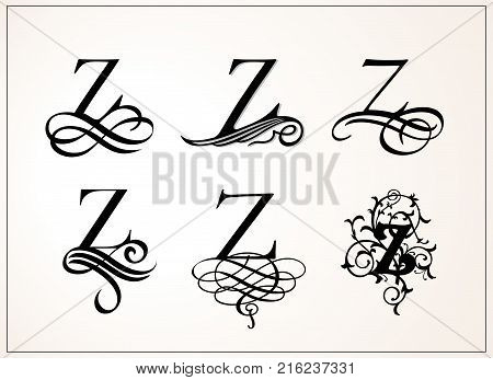 Vintage Set . Capital Letter Z for Monograms and Logos. Beautiful Filigree Font. Victorian Style