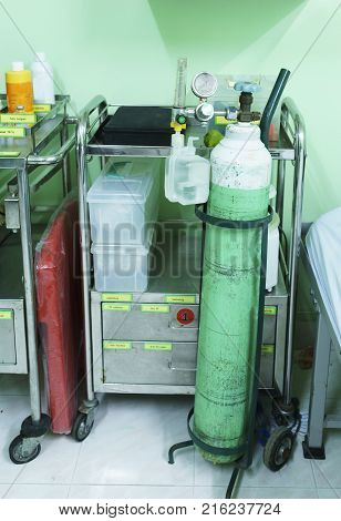 Medical Oxygen Cylinder with Valve or Oxygen Tank using in the clinic