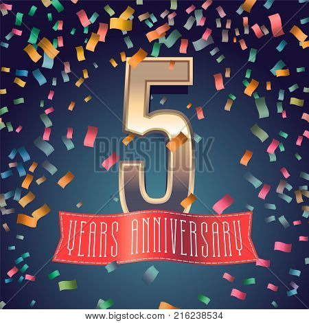 5 years anniversary vector icon, logo. Design element with golden number and festive background for decoration for 5th anniversary