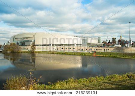 Kolomna Russia - October 22 2017: Kolomna Center Speed Skating By Kolomenka River On Blue Sky With Clouds Autumn Sunny Day.