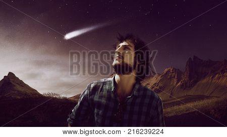 dreamer follows the star, falling star, concept
