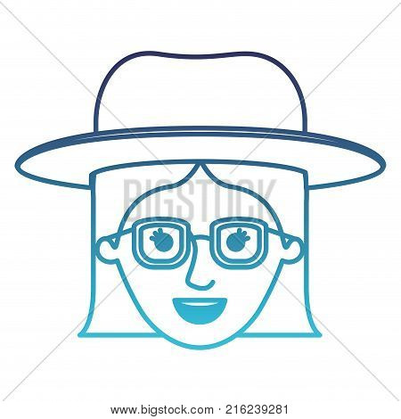female face with hat and glasses with short straight hairstyle in degraded blue silhouette vector illustration