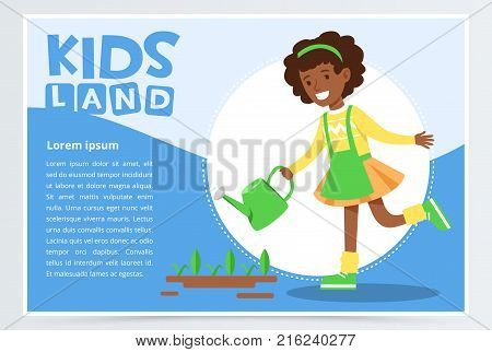Afro american girl watering plants with a watering can, eco concept, organic gardening, kids land banner flat vector element for website or mobile app with sample text
