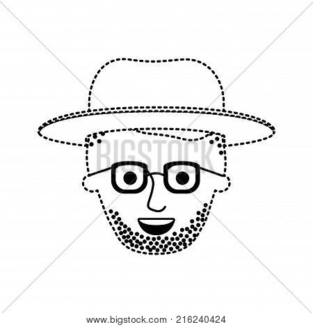 male face with hat and glasses and high fade haircut and stubble beard in black dotted silhouette vector illustration
