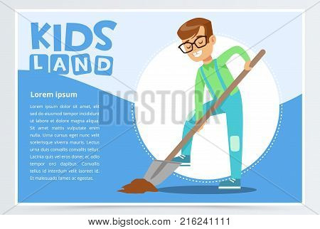 Teen boy with a shovel digging ground, eco concept, kids land banner flat vector element for website or mobile app with sample text
