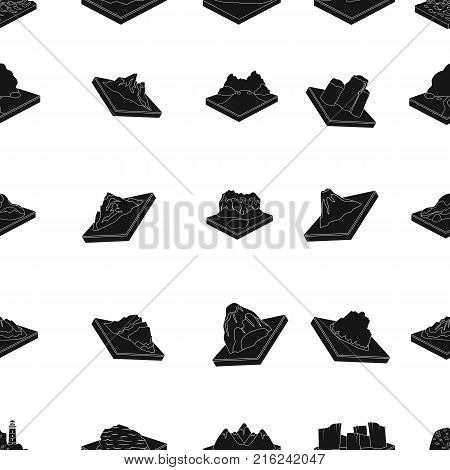 Mountains, rocks, lighthouse, volcano and other land reliefs. Mountains and landscapes set collection icons in black style isometric vector symbol stock illustration .