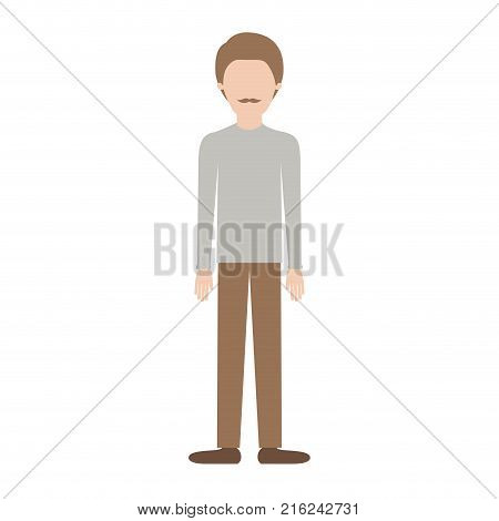faceless man full body with shirt and pants and shoes with short hair and moustache in colorful silhouette vector illustration