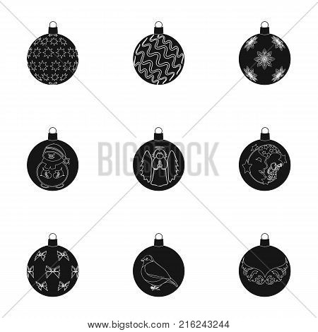 Toys for a Christmas tree black icons in set collection for design.New Year ballsvector symbol stock  illustration.