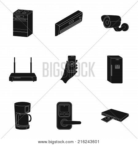 Kitchen appliances black icons in set collection for design.Home appliances and equipment vector symbol stock  illustration.